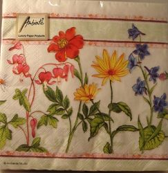 Field Flowers Three Ply Paper Serviettes or Napkins (20)