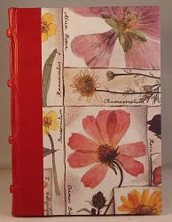 Leather Spined Journal with blank pages. Pressed Flowers design cover
