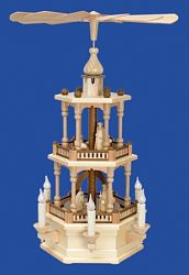 Turning Pyramid Nativity Scene (Electric). Natural Wood Colour